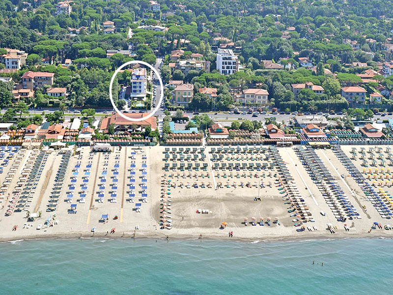 Vista aerea hotel Areion, hotel a Forte Dei Marmi